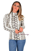 Womens Ladies Snake Skin Snake Print Top Long Sleeve Polo Neck Fashion Top 8-18.