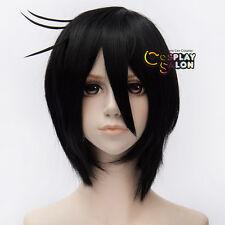"12"" Anime Black Bulter Sebastian Michaelis Black Straight Short Cosplay Wig Bang"