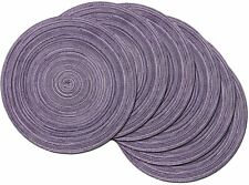 New listing 6 Pcs Round Braided Place Mats Woven Washable Dining Kitchen Tables Light Purple