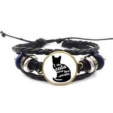 Like Cats More Glass Cabochon Bracelet Braided Leather Strap Bracelets