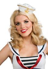 White/Gold Mini Sailor Hat Womens Costume Adult Girls Ladies Headband GOB