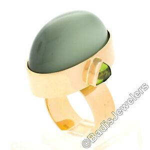 22K Gold Large GIA Oval Cabochon Bezel Cat's Eye Moonstone Trillion Peridot Ring