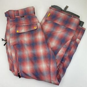 Special Blend Mens Snowboarding Pants Red Blue Plaid Mesh Lined Pockets L