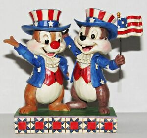 Jim Shore Chip and Dale Figurine n & Hooray for the USA Patriotic Disney Rare