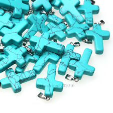 Turquoise Natural Cross Gemstone stone Silver P Bead Pendant 10pcs/lot Wholesale
