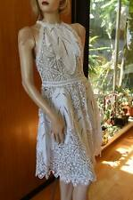 LIM'S Vintage Cotton Hand Crochet Dress Zip Back Full Skirt Fitted Waist White M