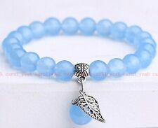 Fashion Jewelry 8mm Blue jade Tibet silver leaves  beads lucky charms bracelet