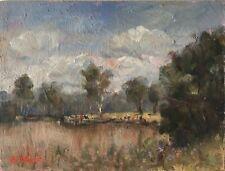 Original Oil Painting Australian Impressionist Artist Enoch Hlisic JELLS LAKE