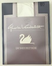Vintage Gloria Vanderbilt White Day Sheer Pantyhose White Sz D Nylon 1980s