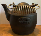 John Wright cast iron tea kettle, coil handle, swivel lid, antique
