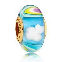 Genuine PANDORA Iridescent Rainbow Murano Glass Charm 14K Gold Vermeil 797013