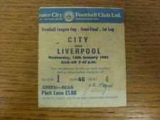 More details for 14/01/1981 ticket: football league cup semi-final, manchester city v liverpool