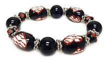 """Timeless Black Red Heart Stretch Bracelet 7.5"""" New with Gift Bag"""
