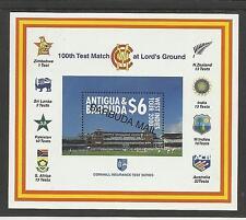 BARBUDA MAIL 2000 LORD'S CRICKET 100th CENTENARY TEST MATCH Souv Sheet MNH