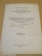 1916 Agriculture Annual Biennial Cropping & Green Manures on WHEAT YIELD Bul 270