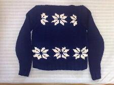 Handgestrickter Schurwoll-Norweger Pullover U-Ausschnitt dunkelbl weiße Sterne
