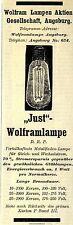 Wolfram Lampen A.G. Augsburg JUST WOLFRAMLAMPE Historische Reklame 1908