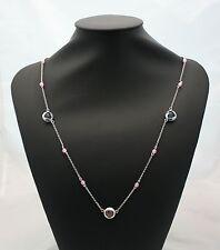 Collana lunga sautoir Raso Gioielli in argento pietre sintetiche azzurre e rosa