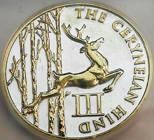 PROVIDENT ISSUE CERYNELAN HIND .999 SILVER ICG PR GENUINE GOLD GILDED