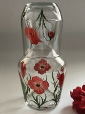 Red Poppy Carafe Set - individually hand painted