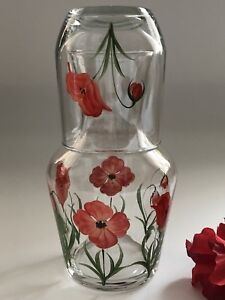 Individually hand painted Red Poppy Carafe Set