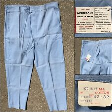 VINTAGE 50s 60s Pants Blue Leisure Chambray Cotton Linen like NOS 42 32 Workwear