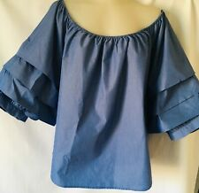 Saks Fifth Avenue Women Striped Cropped Off Shoulder Blouse Size XL Cotton Blend