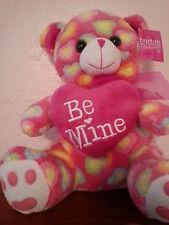 "Valentines Day Pink Plush Bear ""Be Mine"" Pastel Hearts Burton & Burton Nwt"
