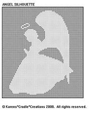 ANGEL SILHOUETTE Filet DOILY Crochet Pattern