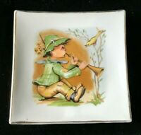 Vintage Square Trinket Dish Display Plate Little Boy Flute Player Yellow Bird 19