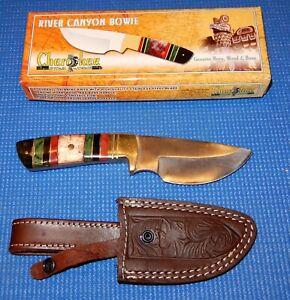 "Cherokee Stone Works River Canyon Bowie Knife + Sheath 9"" Long, Bone, Horn, Wood"