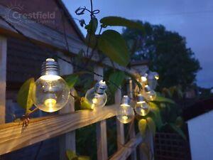 Solar String Lights Outdoor Garden LED Festoon Party Globe Retro 15 Bulb Set