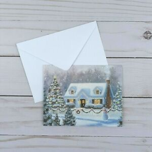 Greeting Note Cards Christmas Winter Scene Glitter 5 Count