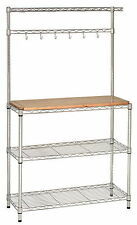 New Metal and Wood Bakers Rack Kitchen Work Station Shelf Organizer