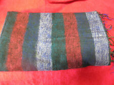 Warm soft cosy large striped green blues deep pink shawl wrap  great gift!