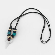 White Shark Tooth Surfer Pendant Sharks Teeth Surf Colorful Beads Necklace