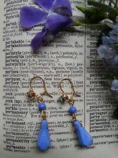 Vintage periwinkle blue EARRINGS GP gold-plated fittings rockabilly punk rock GP