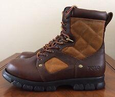 Polo Ralph Lauren Tan Brown Dennison Leather Lace Up Boots Mens Size 8
