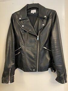 Warehouse Faux Leather Biker Jacket Women Black Size 16
