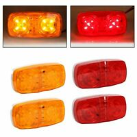 4x Trailer Marker LED Light Double Bullseye 10 Diodes Clearance Lamps Red/Amber