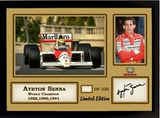 F1 CHAMPION AYRTON SENNA Firmato Autografato Memorabilia FORMULA 1 MCLAREN HONDA