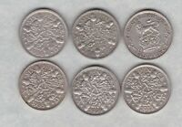 SIX 1926/1928/1930/1933/1934 & 1935 SIXPENCES IN VERY FINE OR BETTER CONDITION.