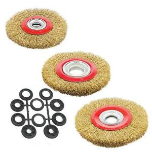 """Wire Brush Wheel 4""""5""""6""""8"""" For Bench Grinder Polish 10pc Reducers Adaptor Rings"""