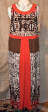 ONE WORLD MICRO JERSEY KNIT STUNNING PRINT SCOOP NECK MAXI DRESS BROWN/CORAL 1X