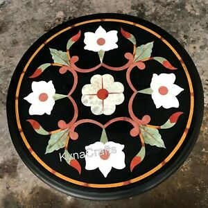 18 Inches Marble Corner Table Pietra Dura Art Coffee Table Top for Hallway Decor