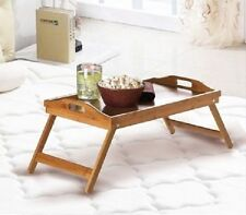 2x Serving Tray Tea Coffee Table Wooden Breakfast in Bed Gift Present 53x33x23cm