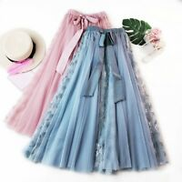 Lady Lace Floral Mesh Long Skirt A-Line Midi Tulle Layered Fairy Swing Chic Cute