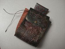 Native American Tooled Leather Belt Sack Pouch Purse Zodiak Horoscope Poem