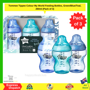 TOMMEE TIPPEE Colour My World Feeding Bottles Green/Blue/Teal, 260ml (Pack of 3)