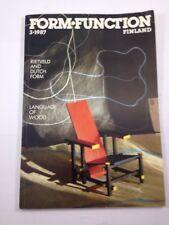 Form Function Finland 3 1987 Finnish Craft & Design Quarterly Rietveld